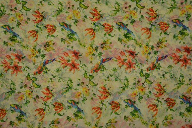 Ambrosia Green Floral Printed Chiffon Fabric By The Yard