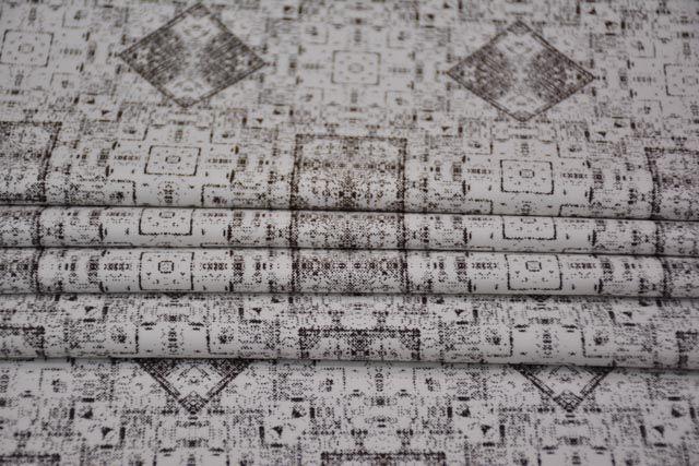 Brown Square Digital Print Cotton Satin Fabric