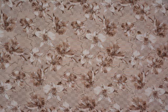 Brown Floral Digital Print Satin Cotton Fabric