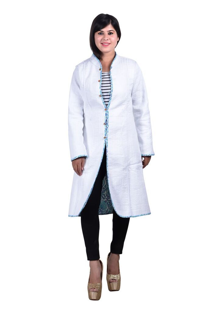 Blue White Reversible Long Quilted Jacket For Women