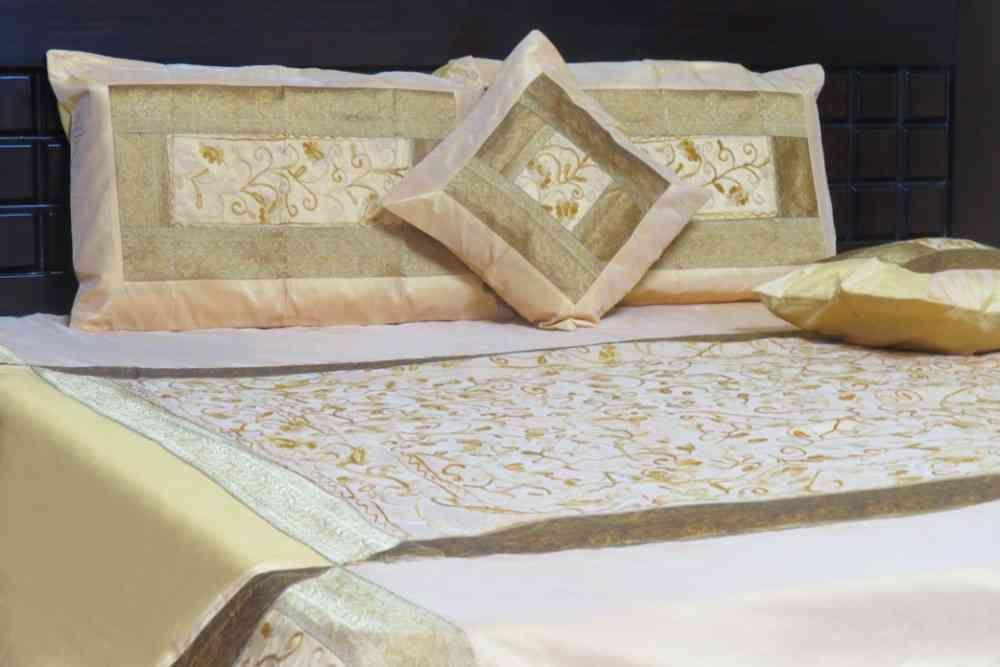 Embroidered Golden Yellow 5 Piece Silk Bedspread Set