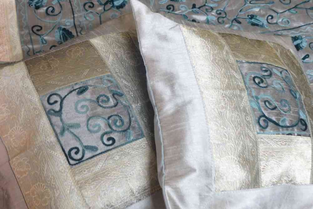 Embroidered Silver 5 Piece Silk Bedcover Set
