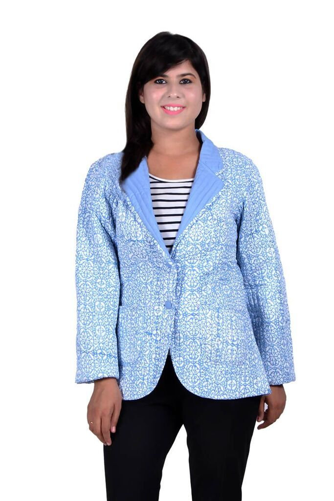 Blue Quilted Coats Womens
