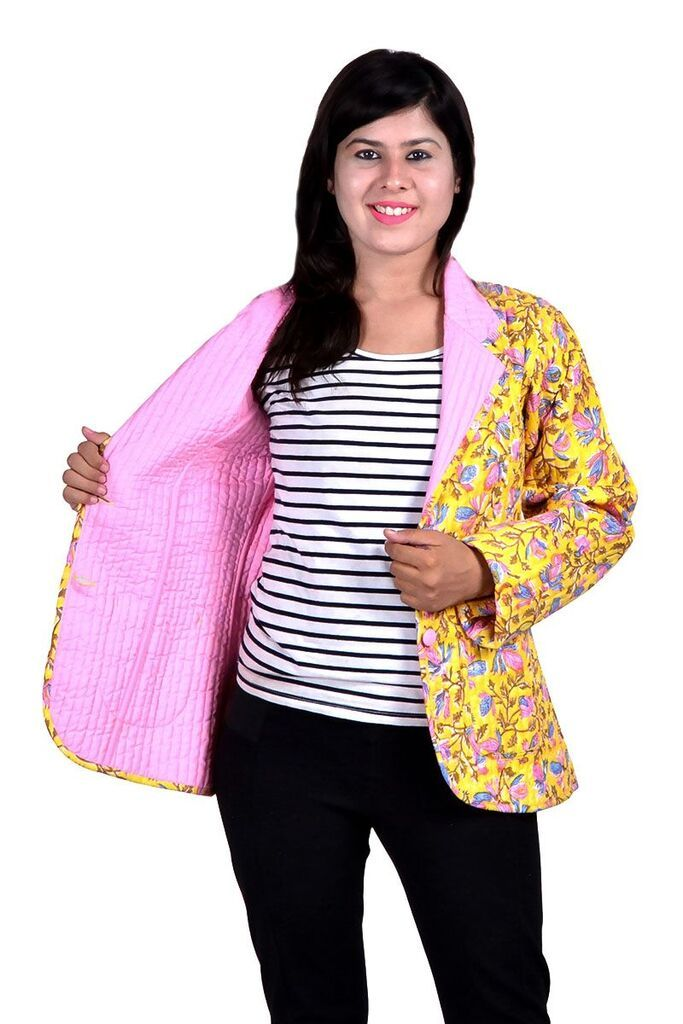 Yellow Pink Floral  Quilted Jacket For Women