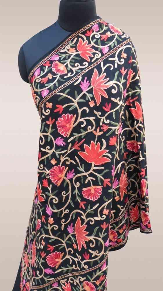 Fully Embroidered Black Indian Scarves Online