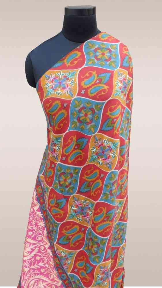 Fully Embroidered Multicolor Cashmere Shawl