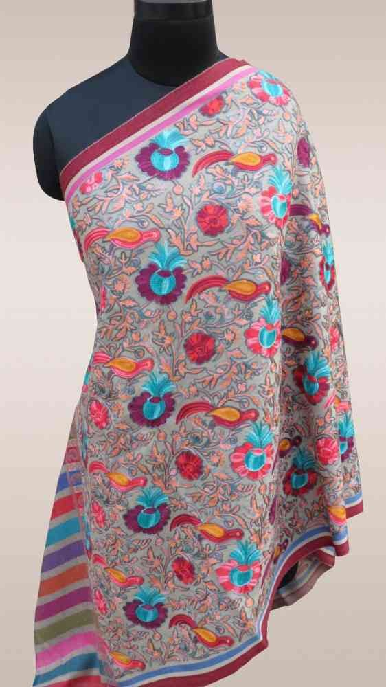 Fully Embroidered Multicolor Indian Scarves Online
