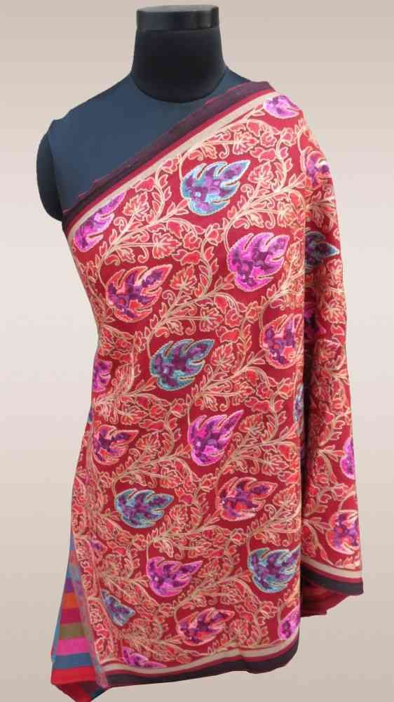 Fully Embroidered Red Indian Scarves Online