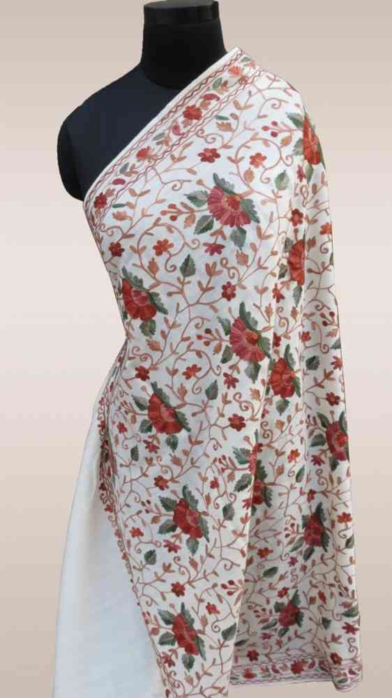 Fully Embroidered White Cashmere Shawl Online