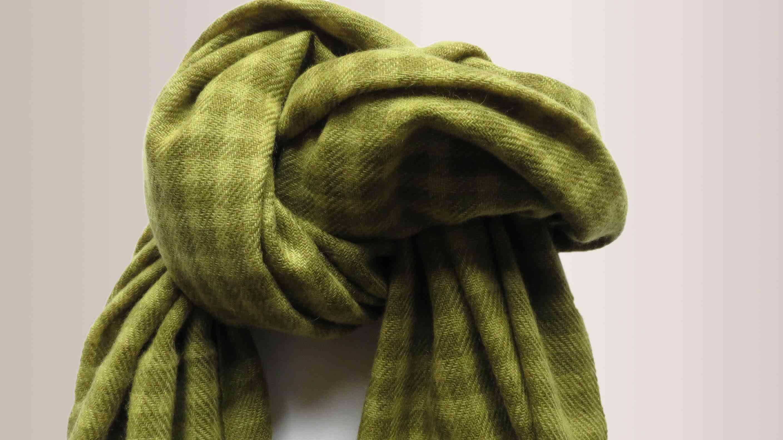 Garden Green Checks Cashmere Wool Scarf