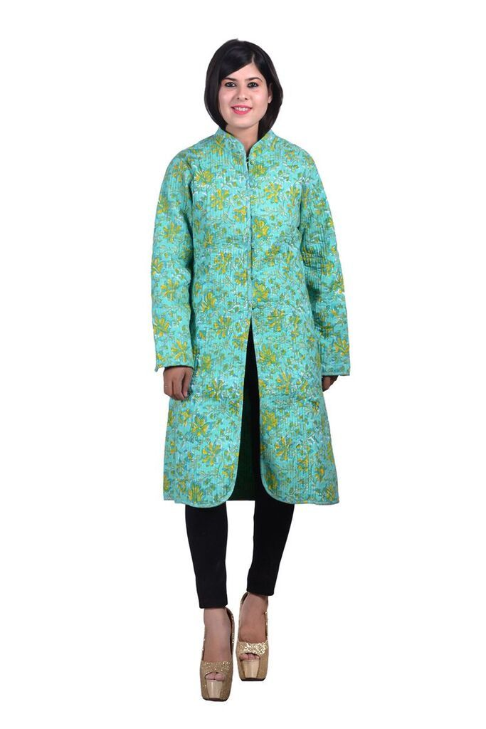 Green Floral Reversible Long Quilted Jacket For Women