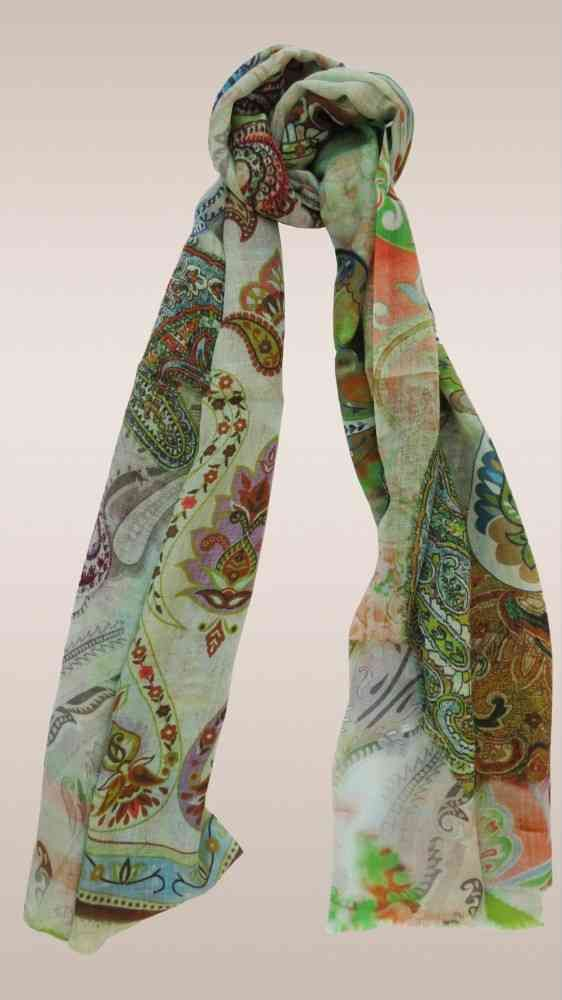 Green Paisley Fashion Scarves For Women