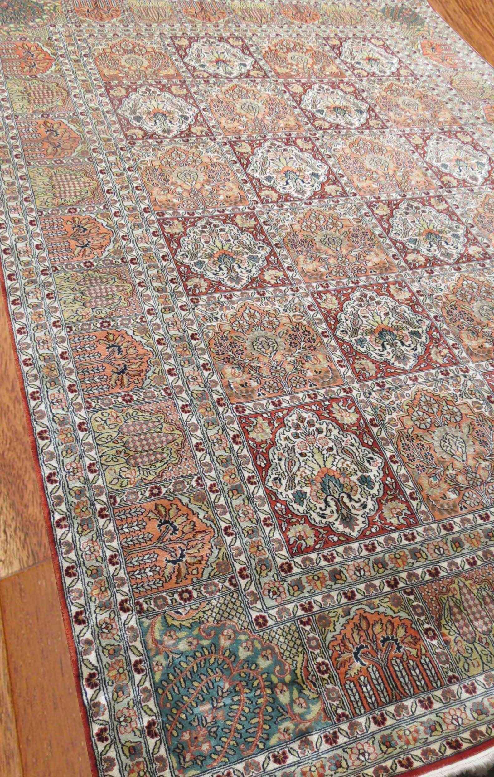 Hamadan Design Pure Silk Rug From India