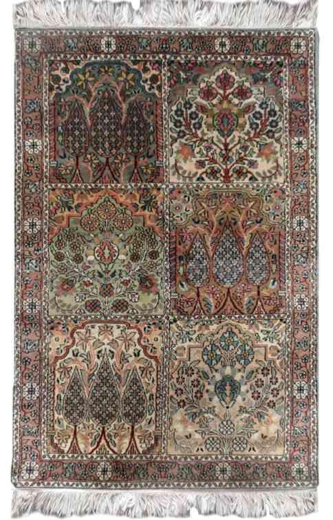Hamadan Design Silk Rug From India