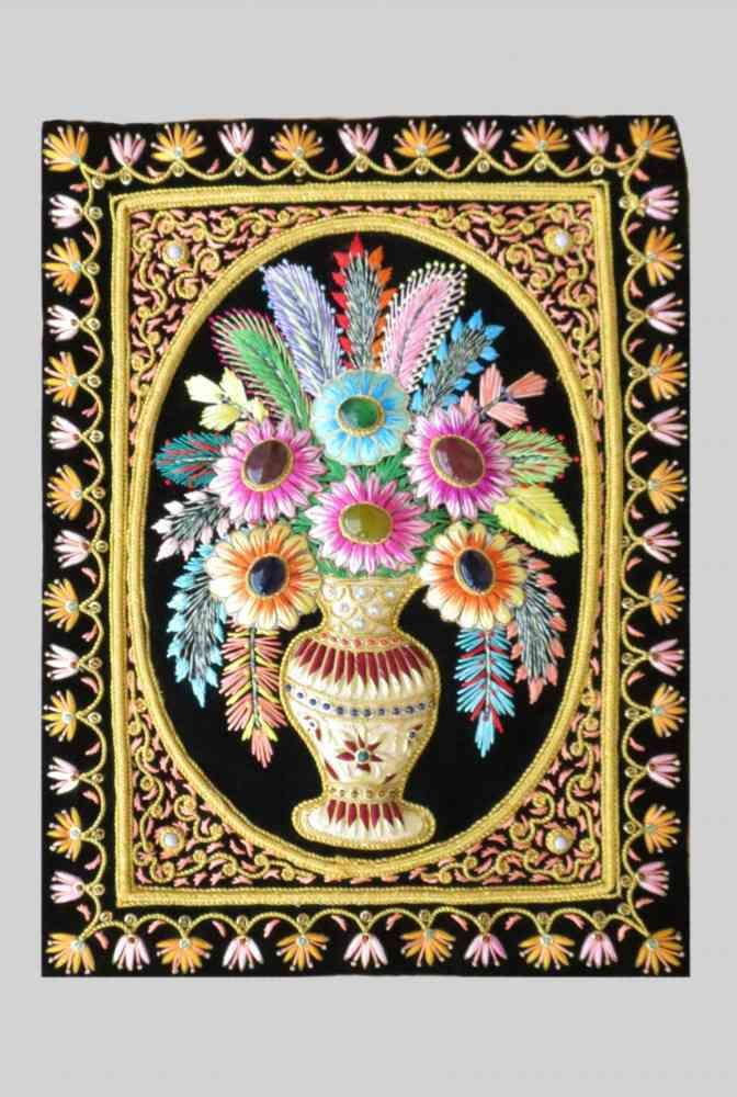 Hand Embroidered Floral Indian Wall Hangings