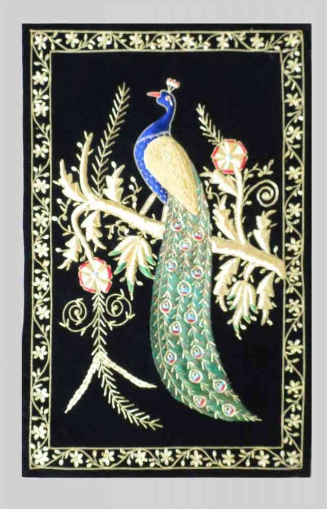 Hand Embroidered Peacock Indian Wall Tapestry