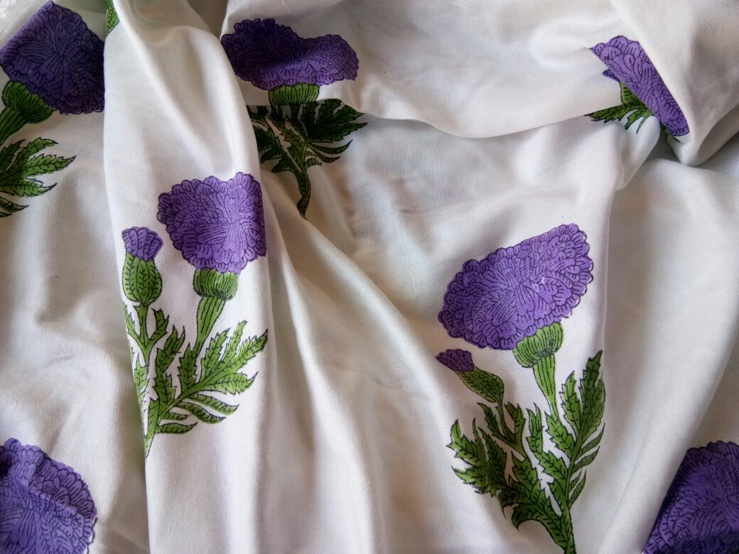 White And Purple Floral Rayon Fabric