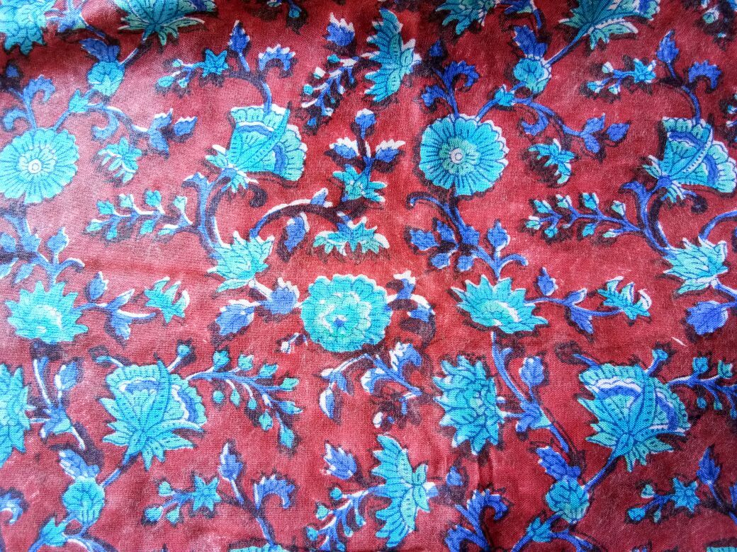 Maroon And Blue Floral Rayon Fabric