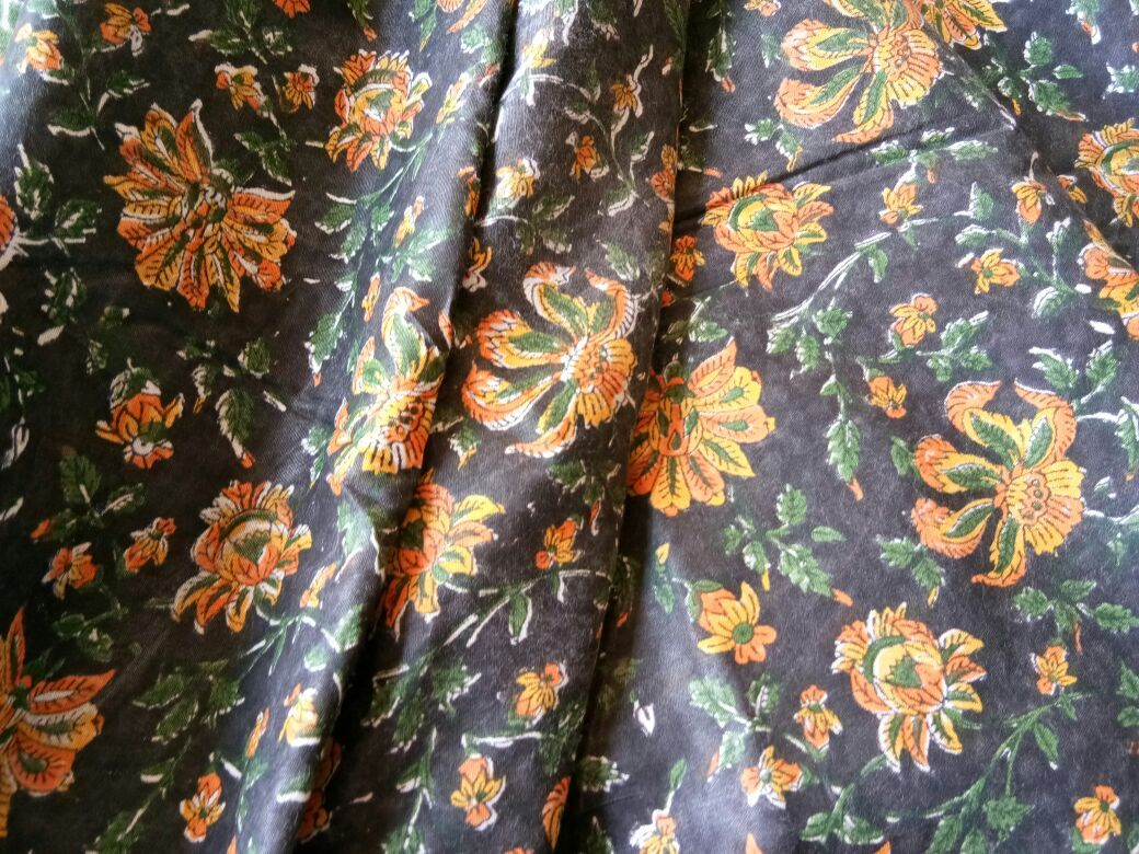 Black And Yellow Floral Rayon Fabric