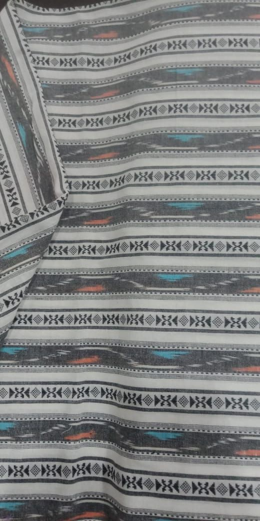Black White Striped Ikat Fabric By The Yard