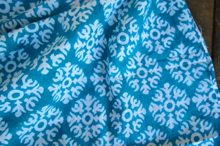 Turquoise Beauty Hand Printed Cotton Fabric