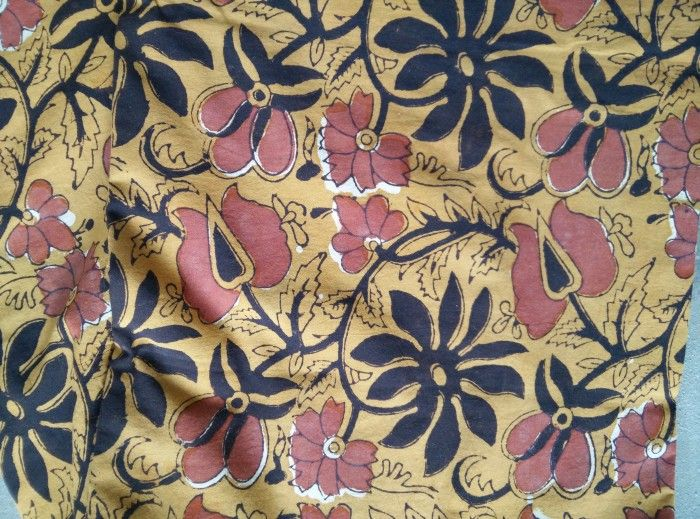 Brown Floral Hand Printed Fabric