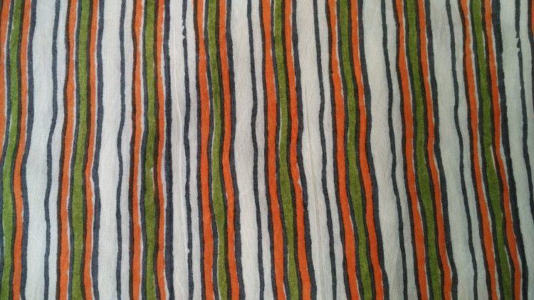 Orange And Olive Green Mulmul Striped Fabric