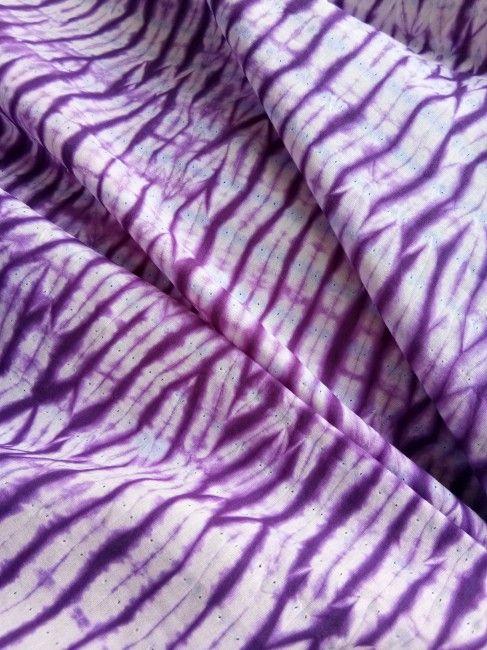 Purple And White Mulmul Shibori Print Fabric