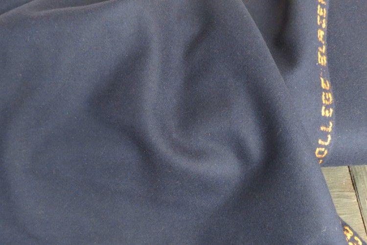 Navy Blue Tweed Wool Fabric By The Yard