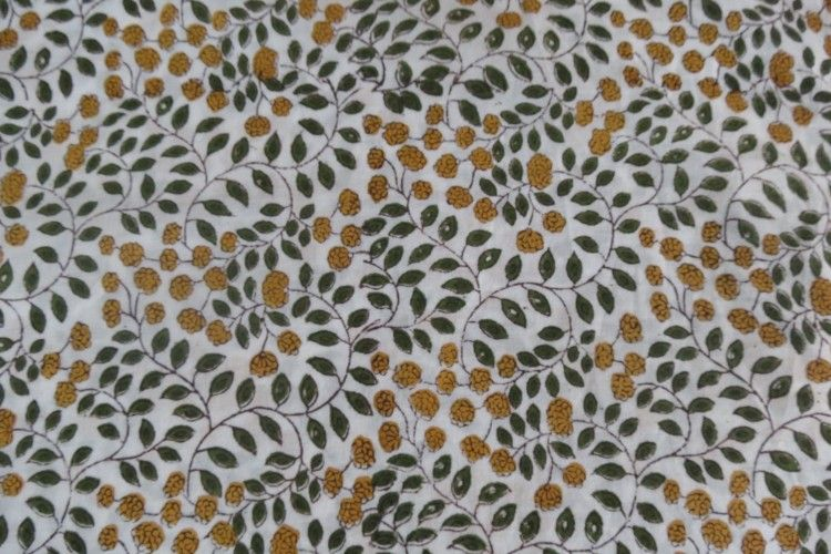 Beautiful Leaf Block Printed Cotton Fabric