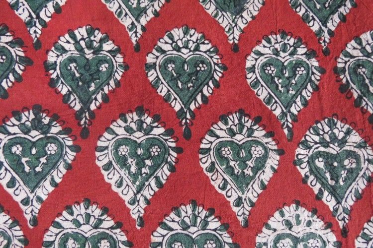 Red & Green Leaves Block Printed Indian Cotton Fabric