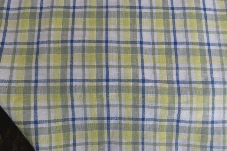 Yellow Blue Check Indian Linen Fabric
