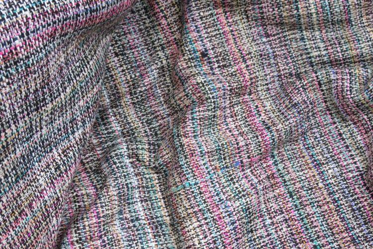 Handloom Multicolor Pure Silk Fabric
