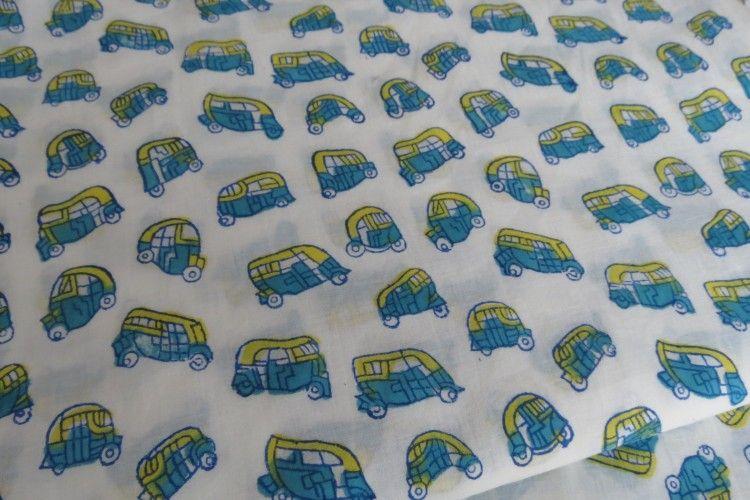Indian Tuk Tuk Hand Block Print Fabric