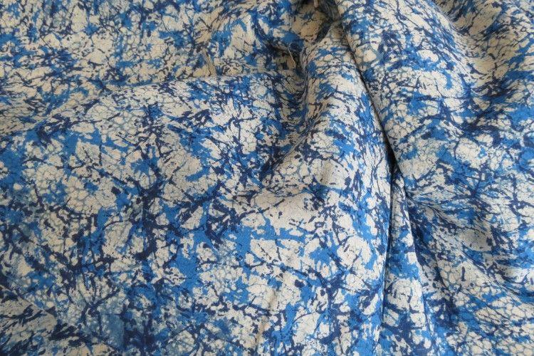 Marbled Indigo Indian Block Print Fabric