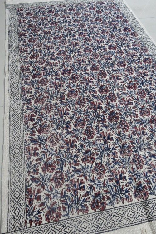 Block Printed Cotton Dhurrie Rugs India