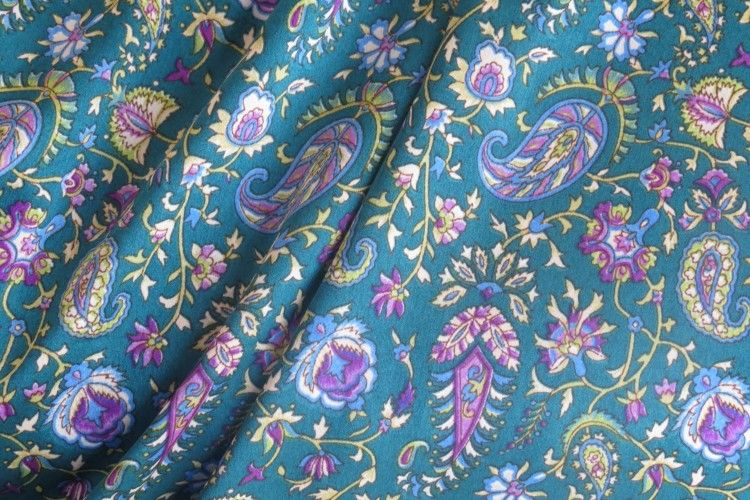 Bluish Green Paisley Polyester Satin Fabric