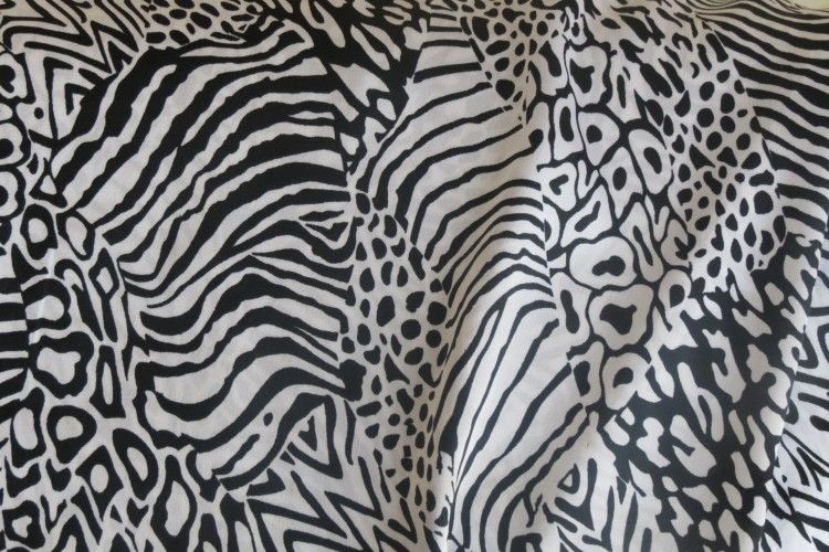 Black And White  Polyester Satin Fabric
