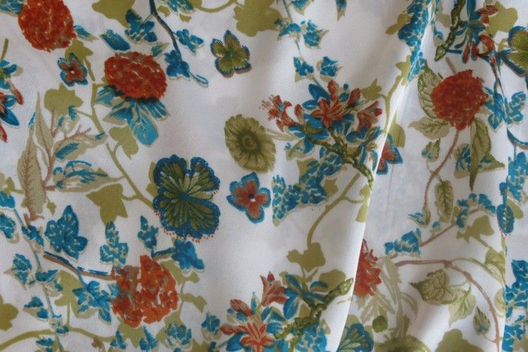 Blue Red Floral Print Polyester Satin Fabric