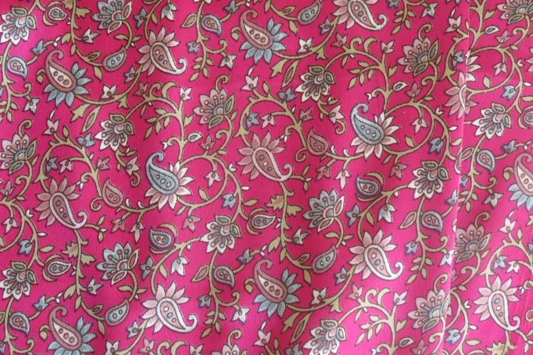 Pink Paisley Polyester Satin Fabric