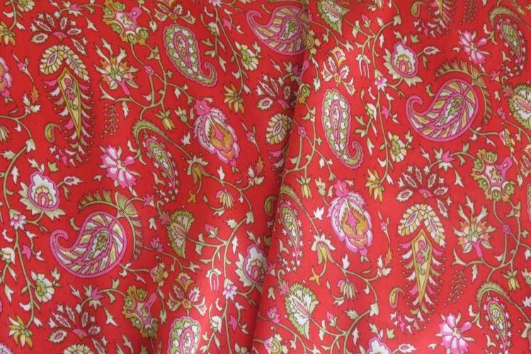 Red Paisley Polyester Satin Fabric