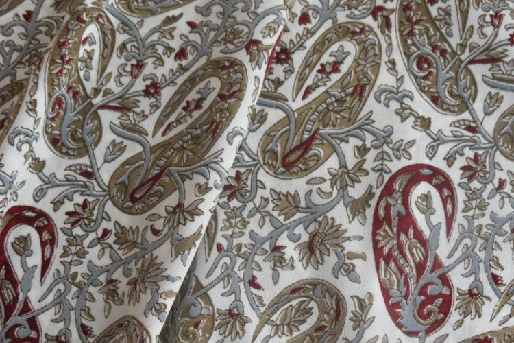 White Red Paisley Polyester Fabric