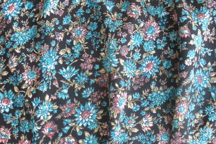 Blue Floral Polyester Fabric
