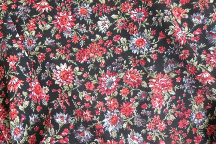 Red Floral Polyester Fabric