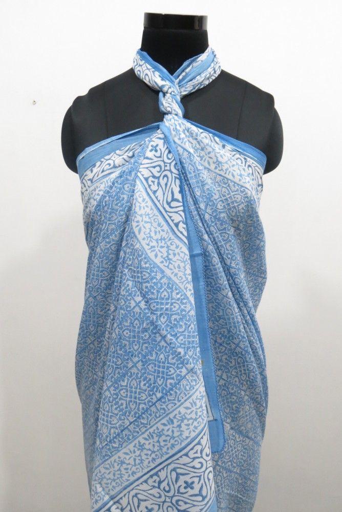 Fresh Blue Cotton Pareo Sarong