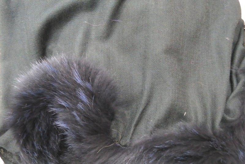 Jet Black Fur Cashmere Wool Scarf