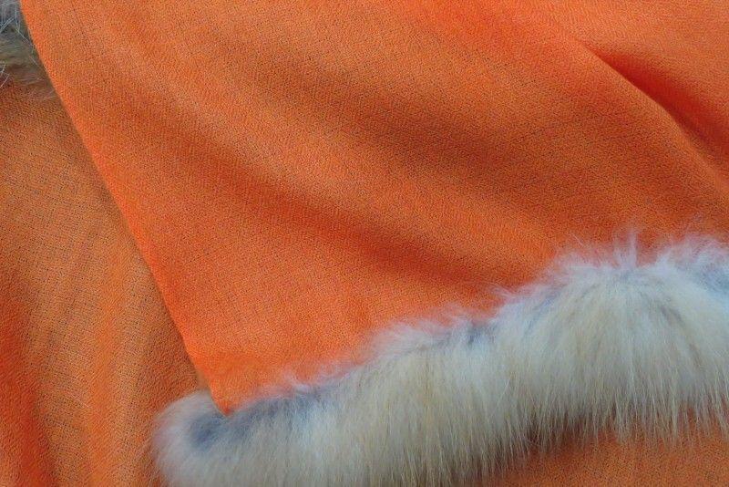 Orange Candy Fur Kashmir Wool Scarf