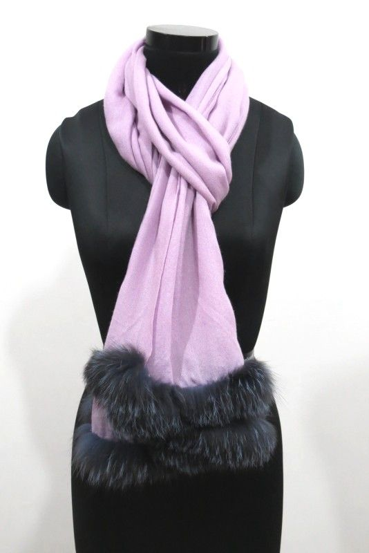 Autumn Violet Fur Cashmere Wool Scarf