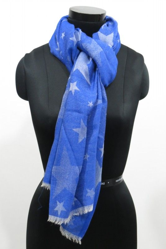 Reversible Blue Star Wool Scarf
