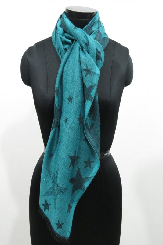 Reversible Green Star Wool Scarf